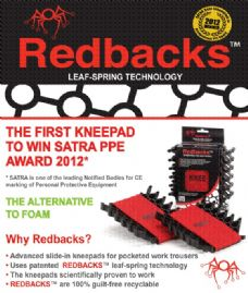 Redbacks leaf spring knee pads for work trousers. For Tiling, Plumbing etc